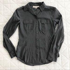 LOFT XS cotton shirt, gray with black French dot
